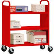 Sandusky® SF336 Double-Sided Flat 3 Shelf Steel Cart 37x18 - Red