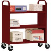 Sandusky® SF336 Double-Sided Flat 3 Shelf Steel Cart 37x18 - Burgundy