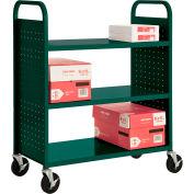 Sandusky® SF336 Double-Sided Flat 3 Shelf Steel Cart 37x18 - Forest Green