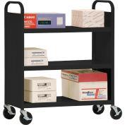 Sandusky® SF336 Double-Sided Flat 3 Shelf Steel Cart 37x18 - Black