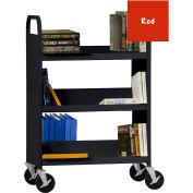 Sandusky® SF336 Flat Top Shelf Steel Book Cart 37x18 - Red