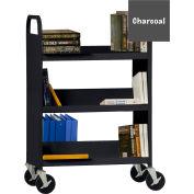 Sandusky® SFV336 Flat Top Shelf Steel Book Cart 37x18 - Charcoal