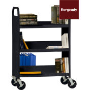 Sandusky® SFV336 Flat Top Shelf Steel Book Cart 37x18 - Burgundy