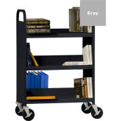 Sandusky® SFV336 Flat Top Shelf Steel Book Cart 37x18 - Dove Gray