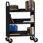 Sandusky® SFV336 Flat Top Shelf Steel Book Cart 37x18 - Black
