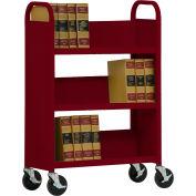 Sandusky® SL330 Single-Sided Slant 3 Shelf Book Cart 31x13 - Burgundy