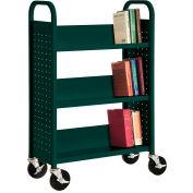 Sandusky® SL330 Single-Sided Slant 3 Shelf Book Cart 31x13 - Green