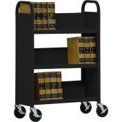 Sandusky® SL330 Single-Sided Slant 3 Shelf Book Cart 31x13 - Black