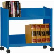 Sandusky® SR227 Single-Side Slanted 2 Shelf Book Cart 28 x 13 - Blue