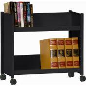 Sandusky® SR227 Single-Side Slanted 2 Shelf Book Cart 28 x 13 - Black