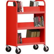 Sandusky® SV336 Double-Sided Slant 6 Shelf Steel Book Cart 37x18 - Red