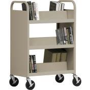 Sandusky® SV336 Double-Sided Slant 6 Shelf Steel Book Cart 37x18 - Sand