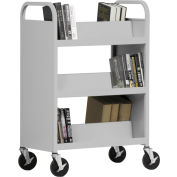 Sandusky® SV336 Double-Sided Slant 6 Shelf Steel Book Cart 37x18 - Gray