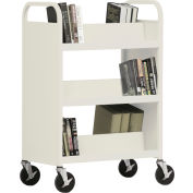 Sandusky® SV336 Double-Sided Slant 6 Shelf Steel Book Cart 37x18 - Putty