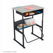 AlphaBetter™ Desk, 28 x 20 Standard Top with Book Box - Beige & Black