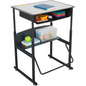 AlphaBetter™ Desk, 28 x 20 Premium Top, with Book Box  - Gray