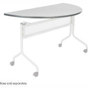 Mobile Training Half Round Table Top only (Base Sold Separately) 48 x 24 Gray