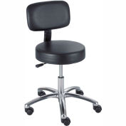 Safco Lab Stool with Back - Vinyl - Pneumatic - Black