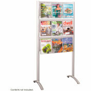 Luxe™ Magazine Floor Rack - 9 Pocket - Silver