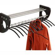 """36"""" Wooden Wall Coat Rack With Hangers - Black"""