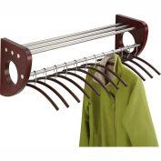 "36"" Wooden Wall Coat Rack With Hangers - Mahogany"