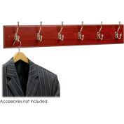 Safco® Wooden Wall Coat Rack, 6 Double-Hooks, Mahogany