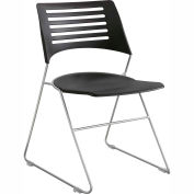 Safco® Pique Plastic Stacking Chair - Black with Silver Frame - Pack of 4