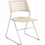 Safco® Pique Plastic Stacking Chair - Latte with Champagne Frame - Pack of 4