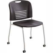 Safco® Vy Plastic Stacking Chair with Straight Legs and Casters - Black - Pack of 2