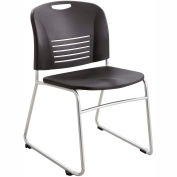 Safco® Vy Plastic Stacking Chair with Sled Base - Black - Pack of 2