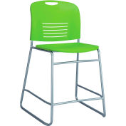 Safco® Vy™ Counter-Height Plastic Stacking Chair with Sled Base - Grass