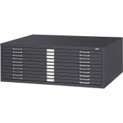 "10-Drawer Steel Flat File for 30"" x 42"" Documents - Black"