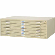 "10-Drawer Steel Flat File for 30"" x 42"" Documents - Sand"