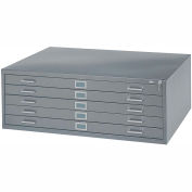 "5-Drawer Steel Flat File for 24"" x 36"" Documents, Gray"