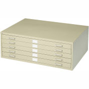 """5-Drawer Steel Flat File for 24"""" x 36"""" Documents, Tropic Sand"""