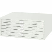 "5-Drawer Steel Flat File for 24"" x 36"" Documents, White"
