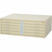 """5-Drawer Steel Flat File for 30"""" x 42"""" Documents, Tropic Sand"""