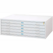 "5-Drawer Steel Flat File for 30"" x 42"" Documents, White"