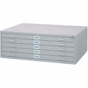 "5-Drawer Steel Flat File for 36"" x 48"" Documents, Gray"