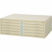 "5-Drawer Steel Flat File for 36"" x 48"" Documents, Tropic Sand"