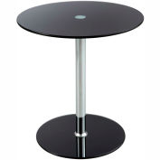 """Safco Glass Accent Table - 17-1/2"""" Round - Black"""