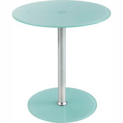 """Safco Glass Accent Table - 17-1/2"""" Round - White"""