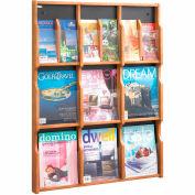 Expose 9 Magazine 18 Pamphlet Display - Medium Oak/Black