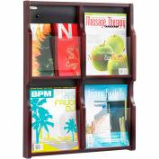 Expose 4 Magazine 8 Pamphlet Display - Mahogany/Black