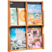 Expose 4 Magazine 8 Pamphlet Display - Medium Oak/Black