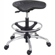Safco® Polyurethane Stool with Chrome Base - Black