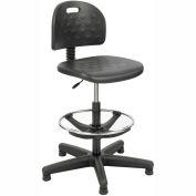 Safco Soft Tough Economy Workbench Stool - Polyurethane - Black