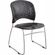 Safco® Rêve™ Plastic Stacking Guest Chair with Sled Base - Black - Pack of 2