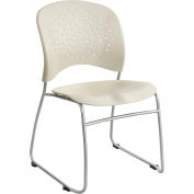 Safco® Rêve™ Plastic Stacking Guest Chair with Sled Base - Latte - Pack of 2