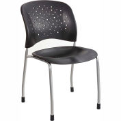 Safco® Rêve™ Plastic Stacking Guest Chair - Black - Pack of 2